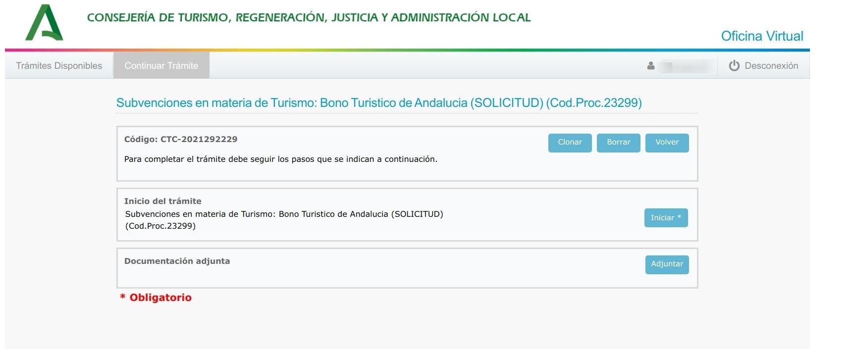 Tramite online para obtener el Bono turístico Andaluz.