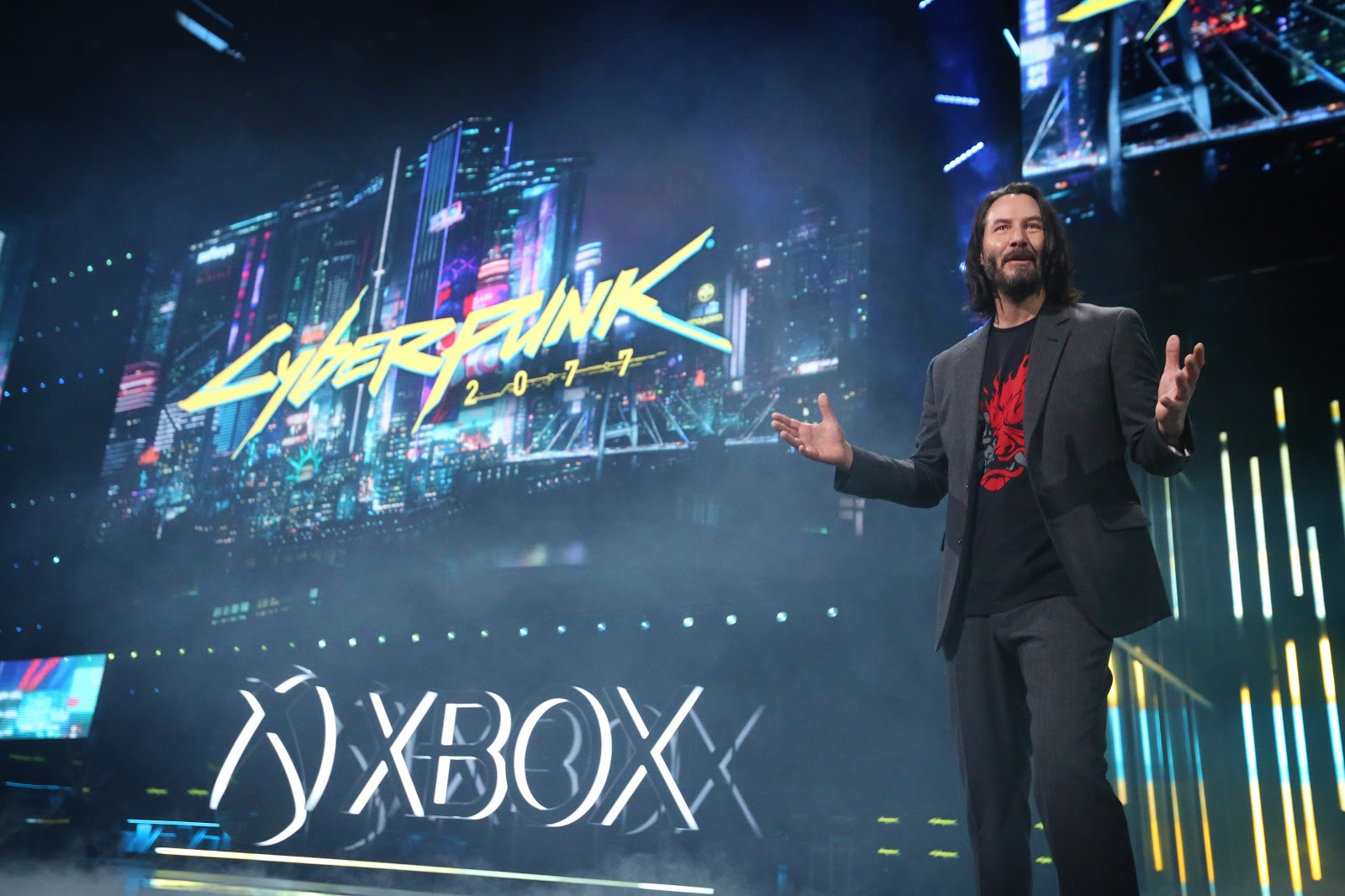 Keanu Reeves at Cyberpunk 2077 Cinematic Trailer Review