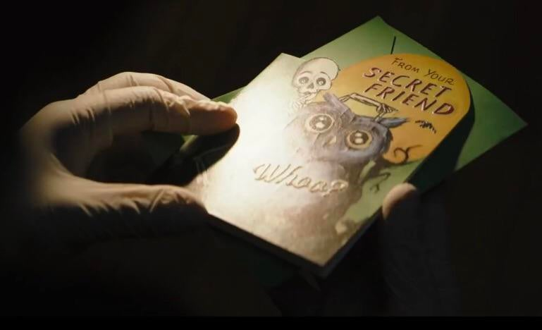 I wonder if The Riddler's owl card has anything to do with the Court Of Owls.  For those who don't know. Considering The Riddler's goal of wanting to  expose Gotham's corruption and