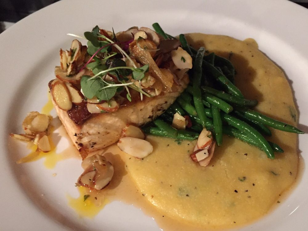 Photo of Vitor's Bistro - West Harrison, IN, United States. Almond Salmon with Ginger Glaze