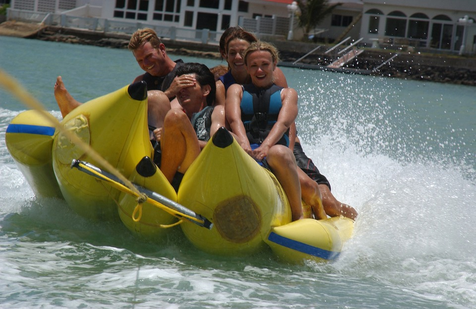 Banana Boat Ride, Harbor, Water, Fun, Colorful, Friends