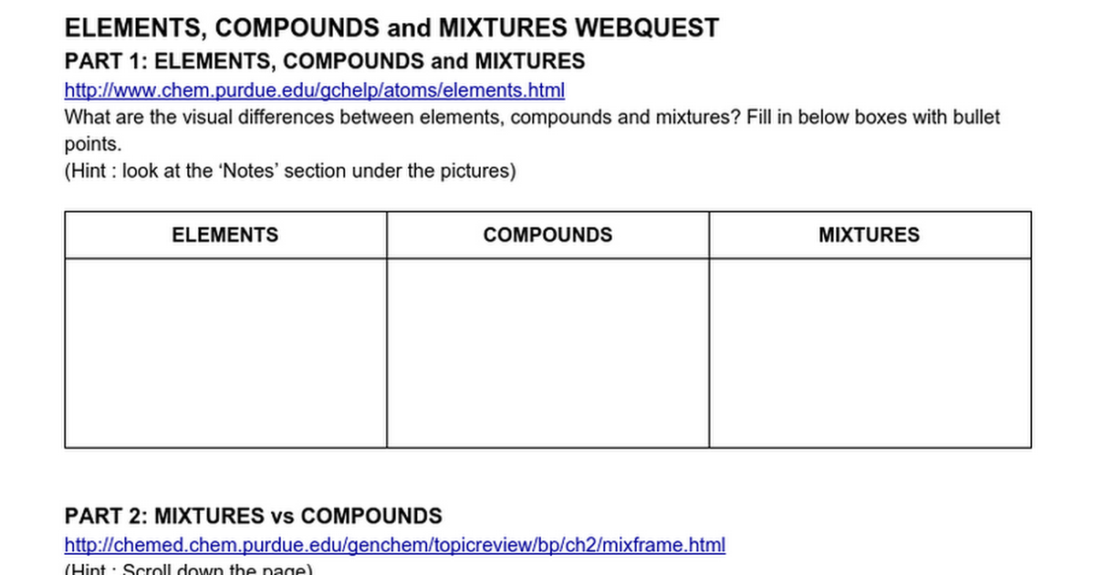 115 ECM WEBQUEST Google Docs – Elements Mixtures and Compounds Worksheet
