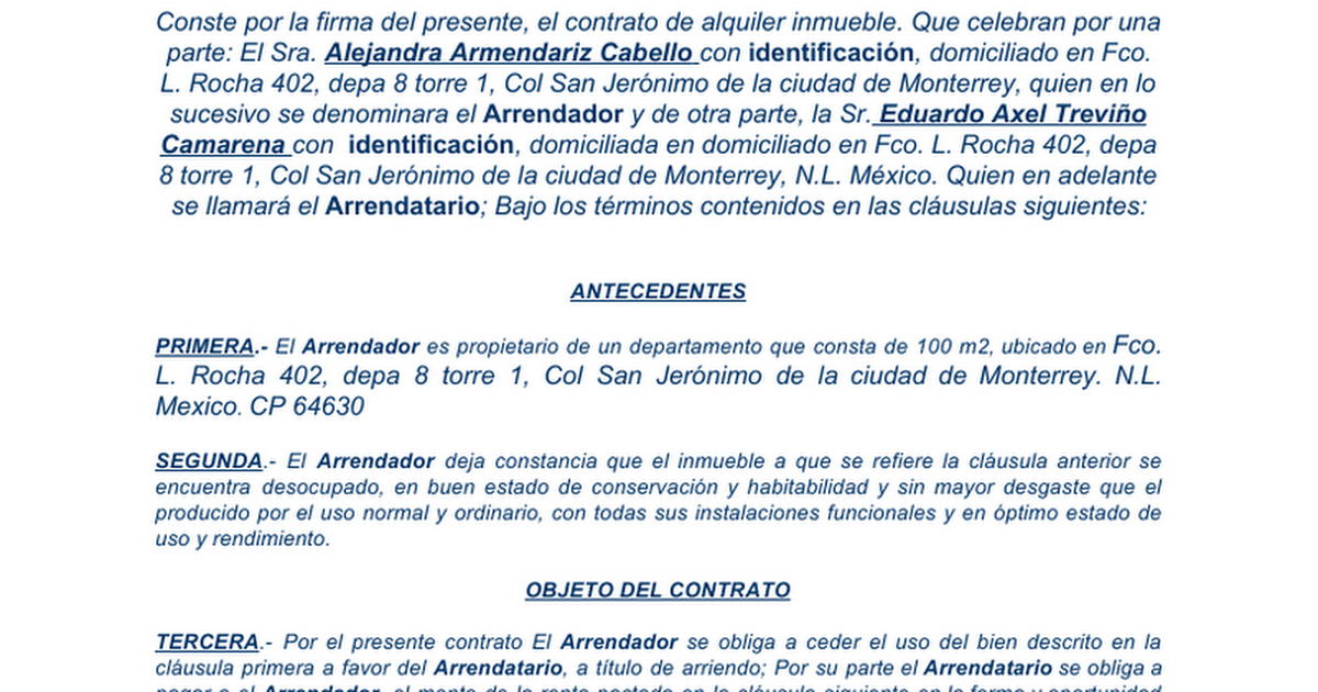 Contrato De Arrendamiento De Oficina Of Contrato De Alquiler Departamento Google Docs