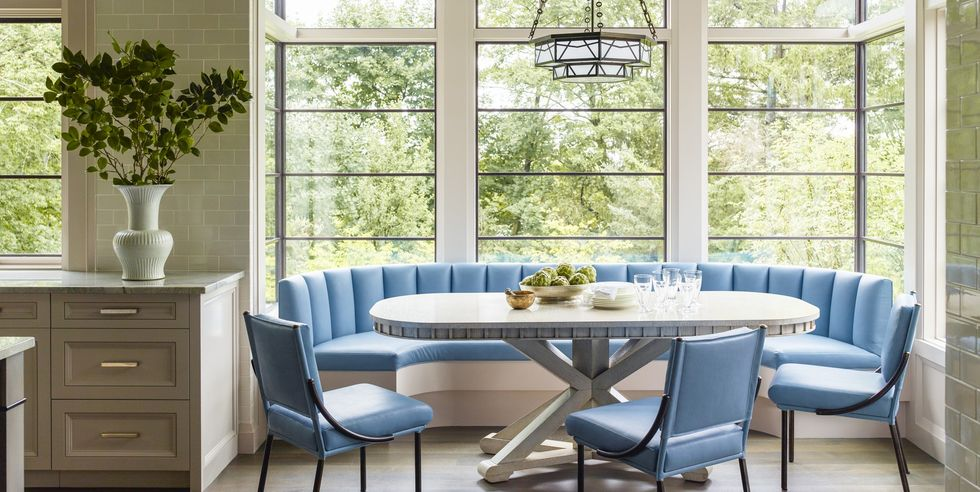 Blue banquet seating in a kitchen