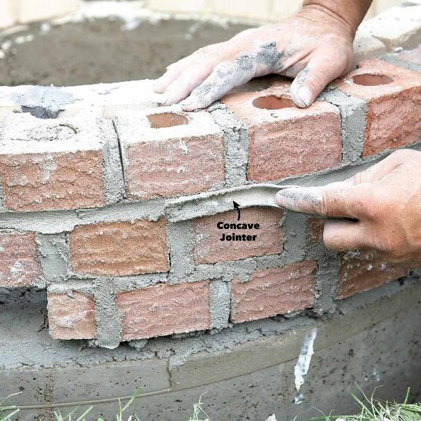 strike mortar joints fire pit