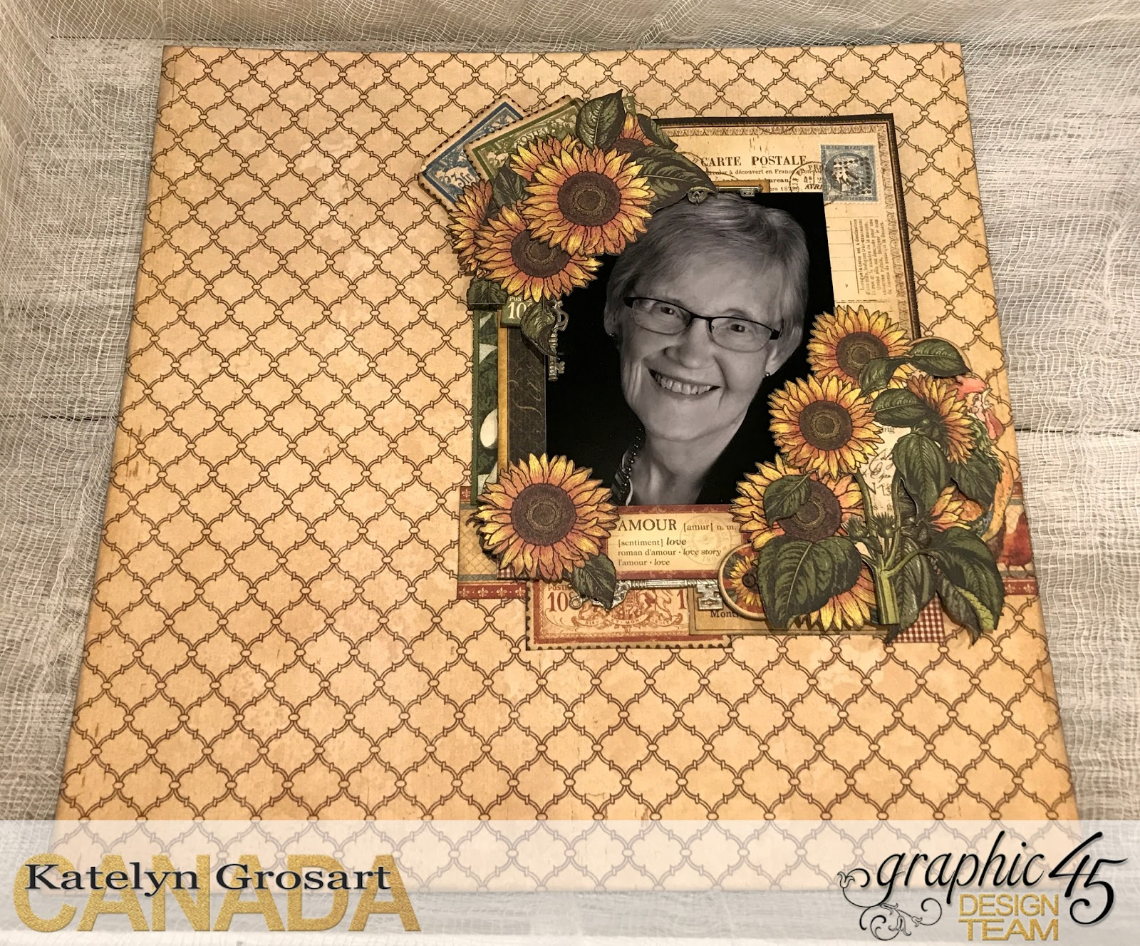 Amour Scrapbook Layout, French Country DCE, Tutorial by Katelyn Grosart, Product by Graphic 45, Photo 1.jpg