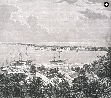 This engraving of Singapore Harbor was made around 1870, when Singapore's Arabs owned more than half the island's territory. They began arriving in the early 19th century, and they have not forgotten their families' roots in southern Yemen.