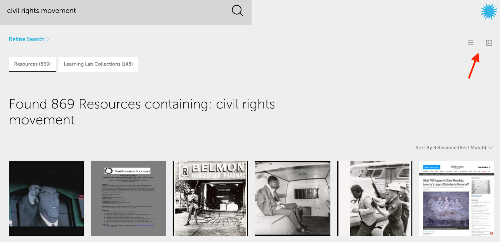 Image of search results for the civil rights movement.