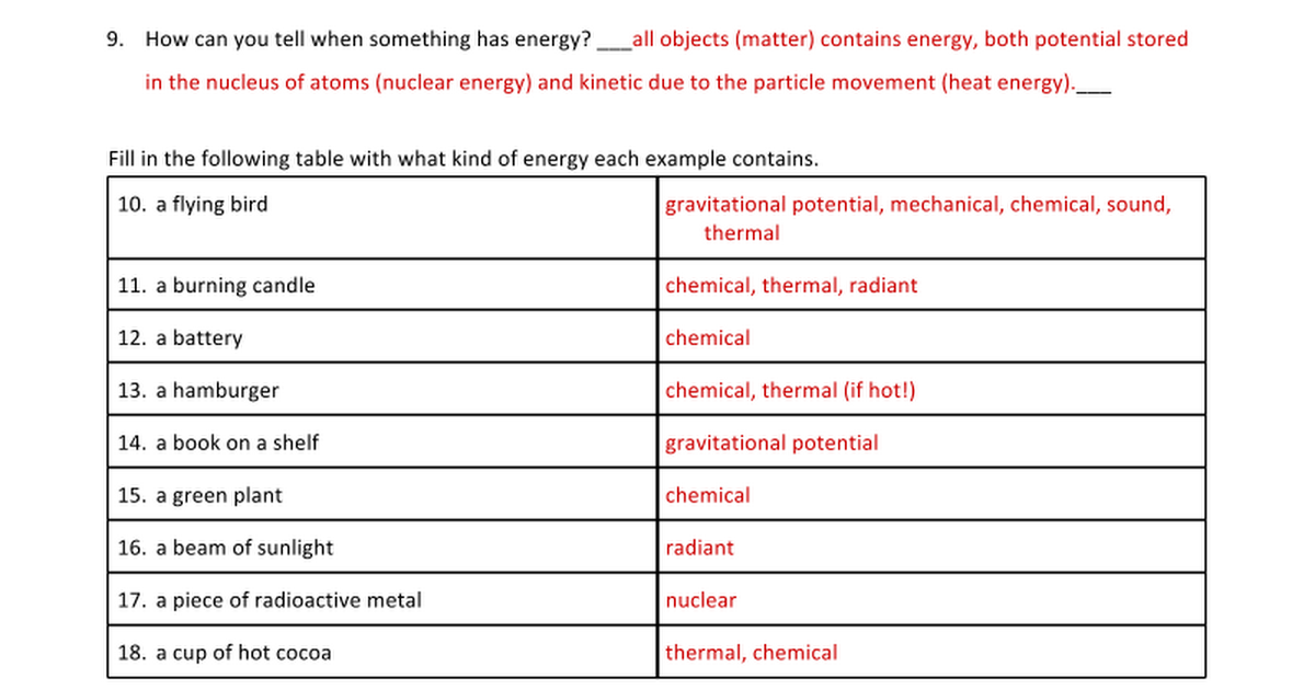 Answers Energy Types and Transformations Worksheets Google Docs – Types of Energy Worksheet