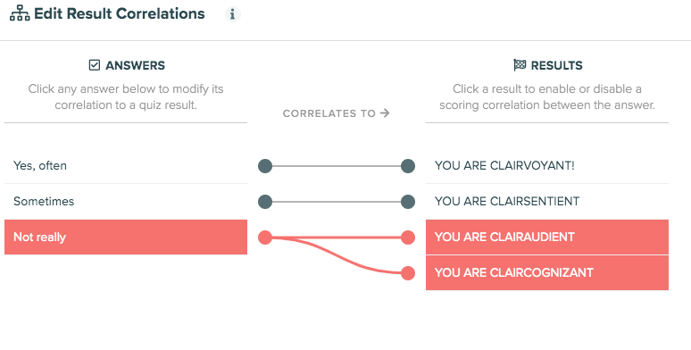 setting up result correlations