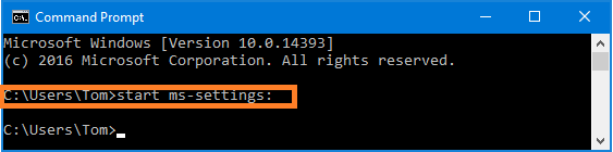 How to Open Windows Settings in Windows 10 using command prompt