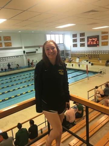 Cassandra Jansen at a swim meet before the pandemic