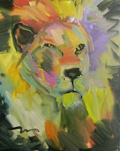 Image result for lion with tiger  oilpainting small size