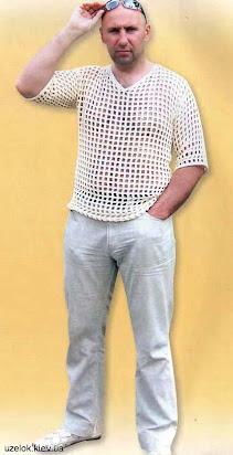 вязaние схемы крючком сетки для мужской футболки