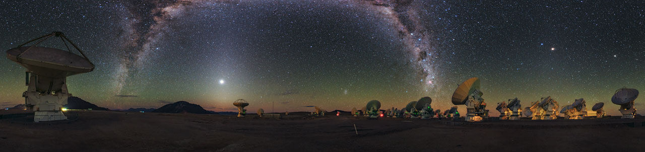 ALMA antennas pointing towards the Milky Way