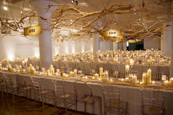 Ivory pillar candles for wedding centerpieces