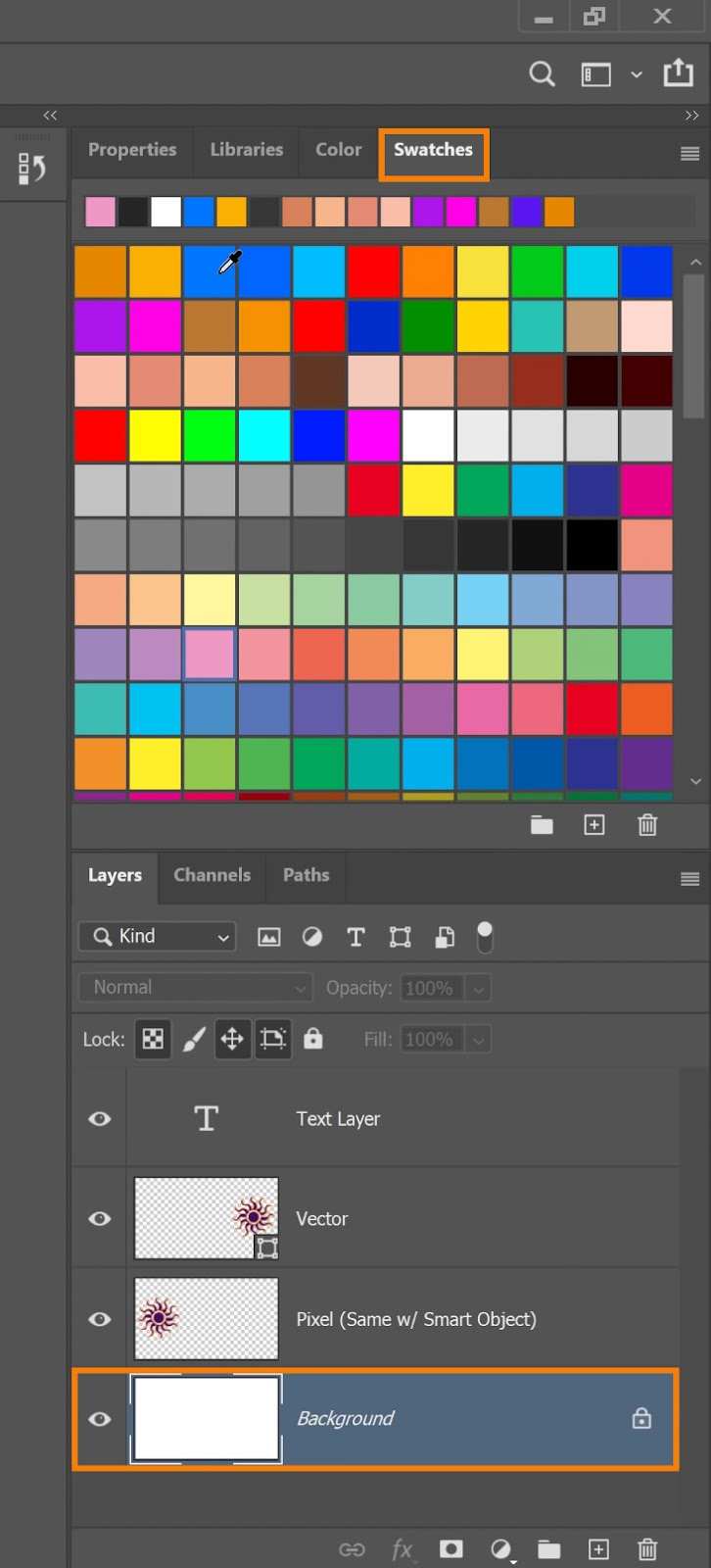 click-and-drag on a color swatch and drop it on the Background layer