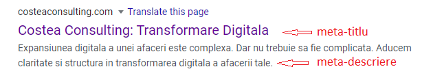 Optimizare SEO corectă a titlului si descrierii unei pagini va oferi informatii relevante atat pentru utilizatori, cat si pentru motoarele de cautare.