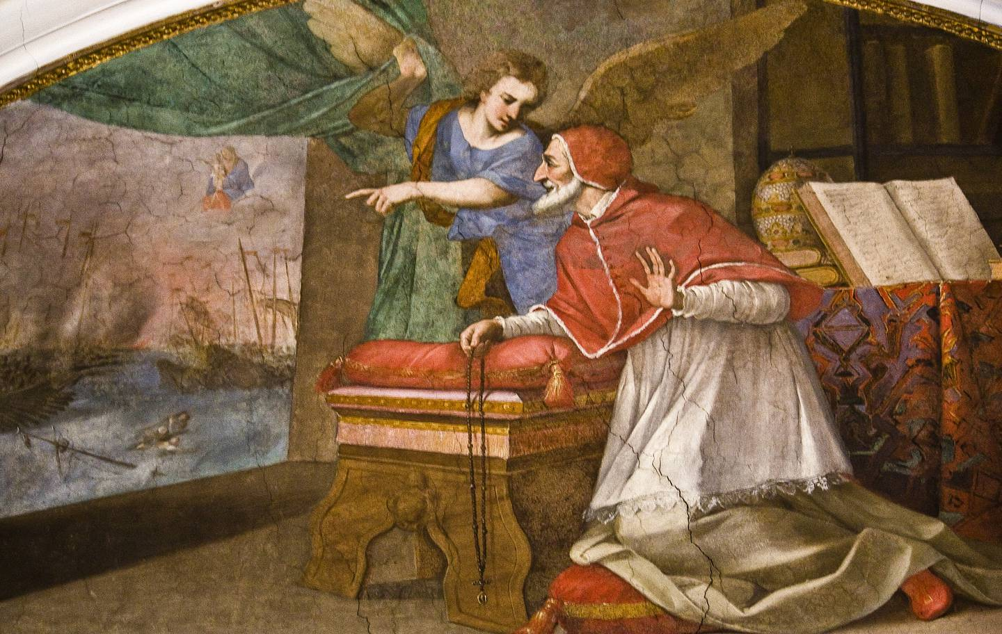 This fresco of the Dominican Pope St Pius V praying the Rosary during the Battle of Lepanto