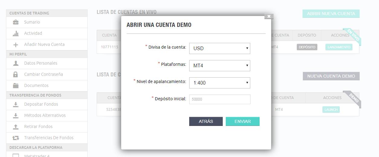 Abrir una cuenta demo en iTrader