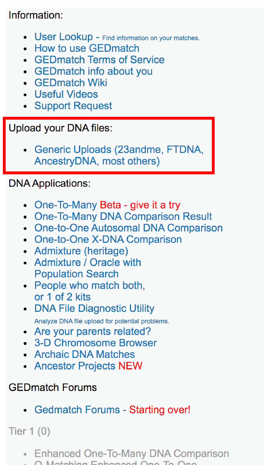 On the right side of the GEDmatch home page is the index that includes a link to upload your DNA files.