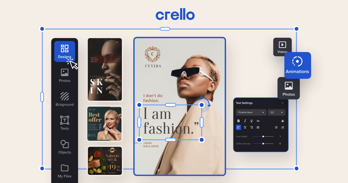 Crello dashboard showing tools and infographics examples