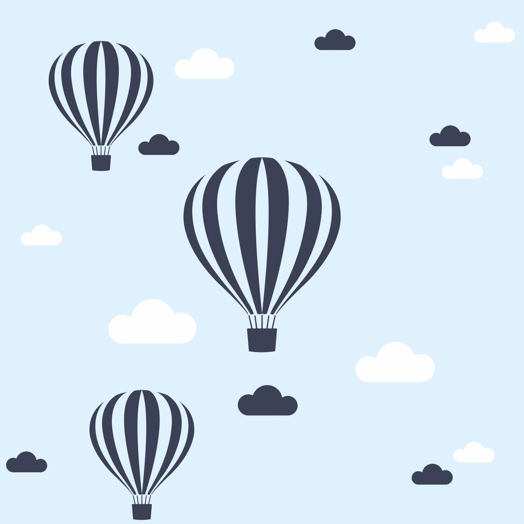 Tapeta w balony i chmurki do pokoju dziecka