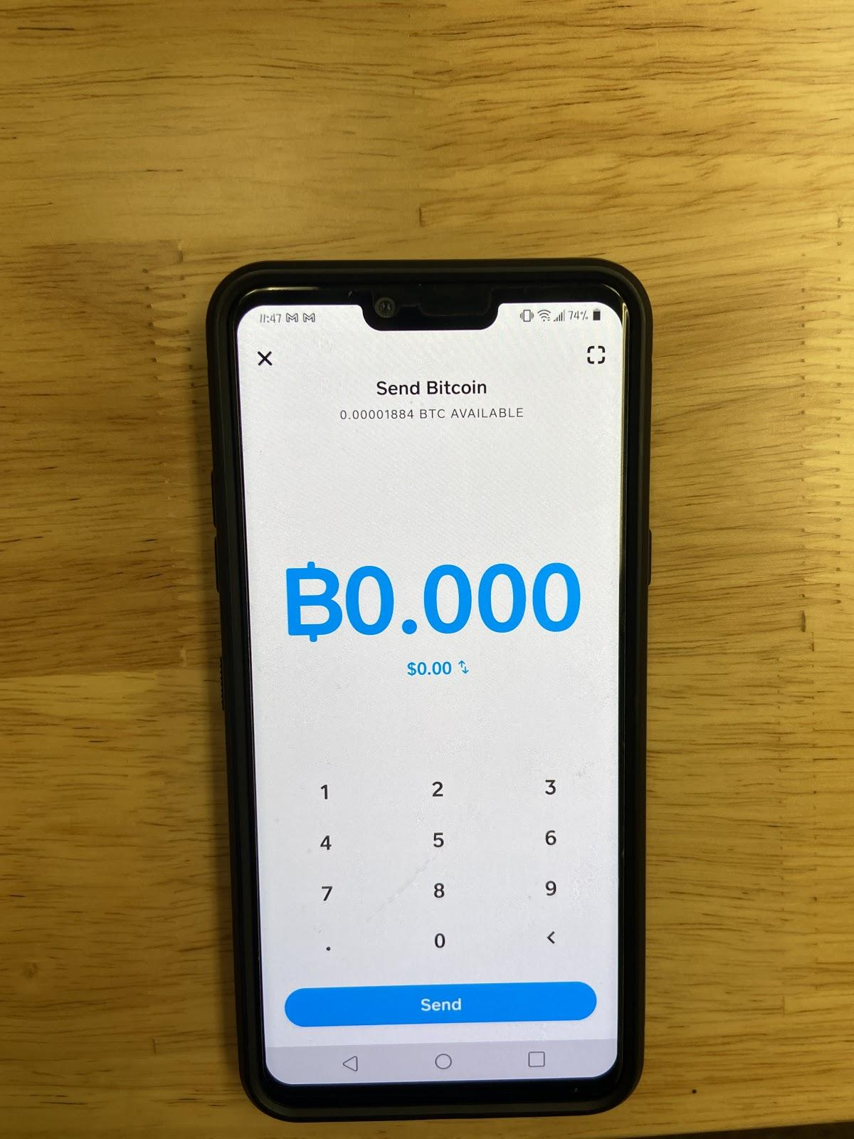 Image depicting a screenshot in CashApp - Indicating the Bitcoin Amount input field