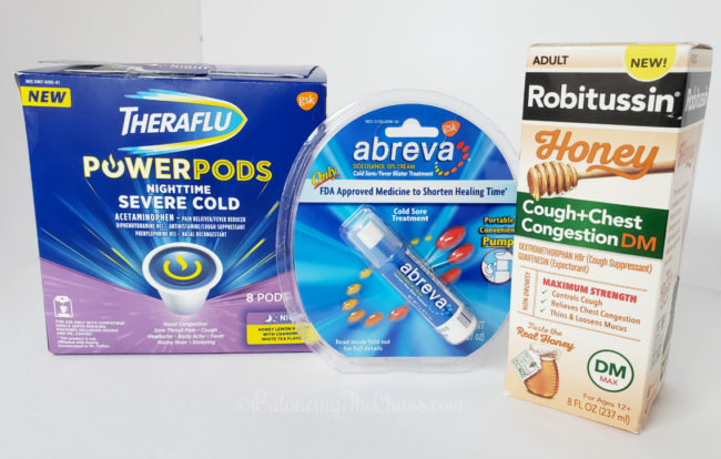 Theraflu power pods nighttime severe cold Abreva cold sore treatment Robitussin  Honey