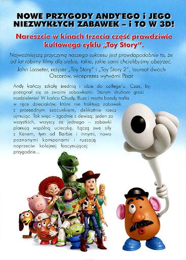 Tył ulotki filmu 'Toy Story 3'