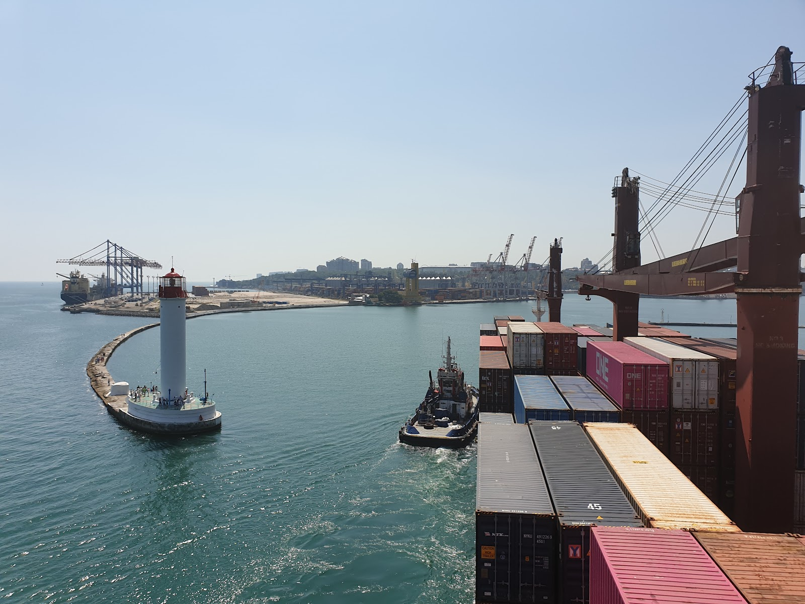 View from a container ship as it comes into port