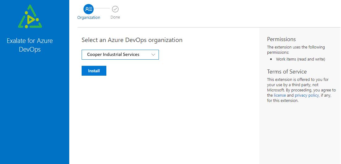 select your azure devops organization
