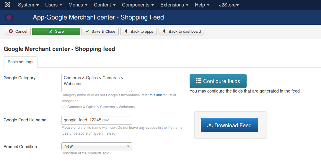 Google merchant center shopping feed - J2Store Documentation