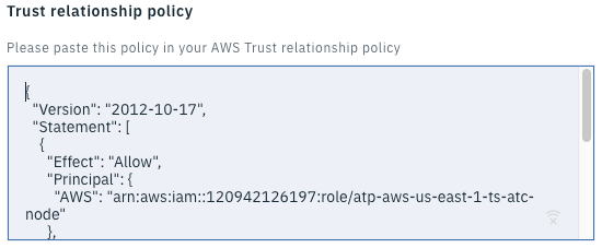 Screenshot show a sample trust relationship policy