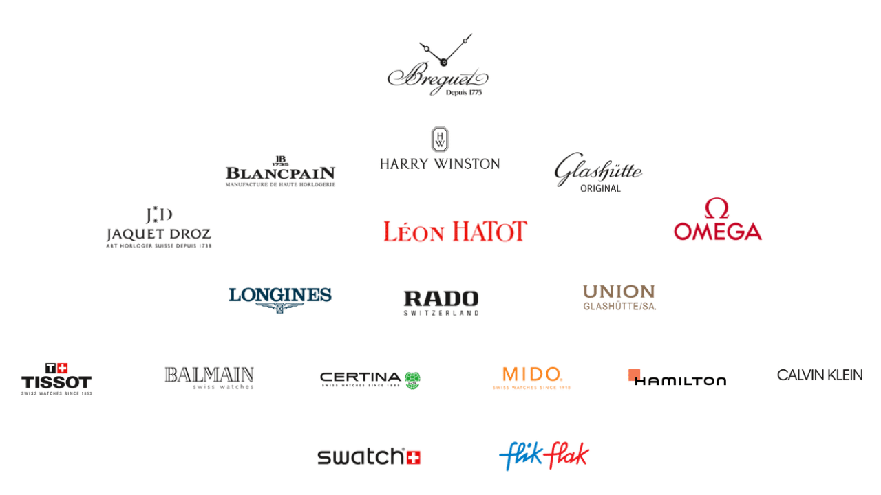 Photo of the logos of the watch brands under the Swatch Group, all laid out in a pyramid of hierarchy.