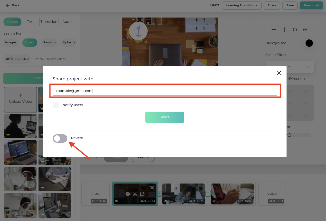 How to share your video projects in Videomaker - Share privately through an email invitation