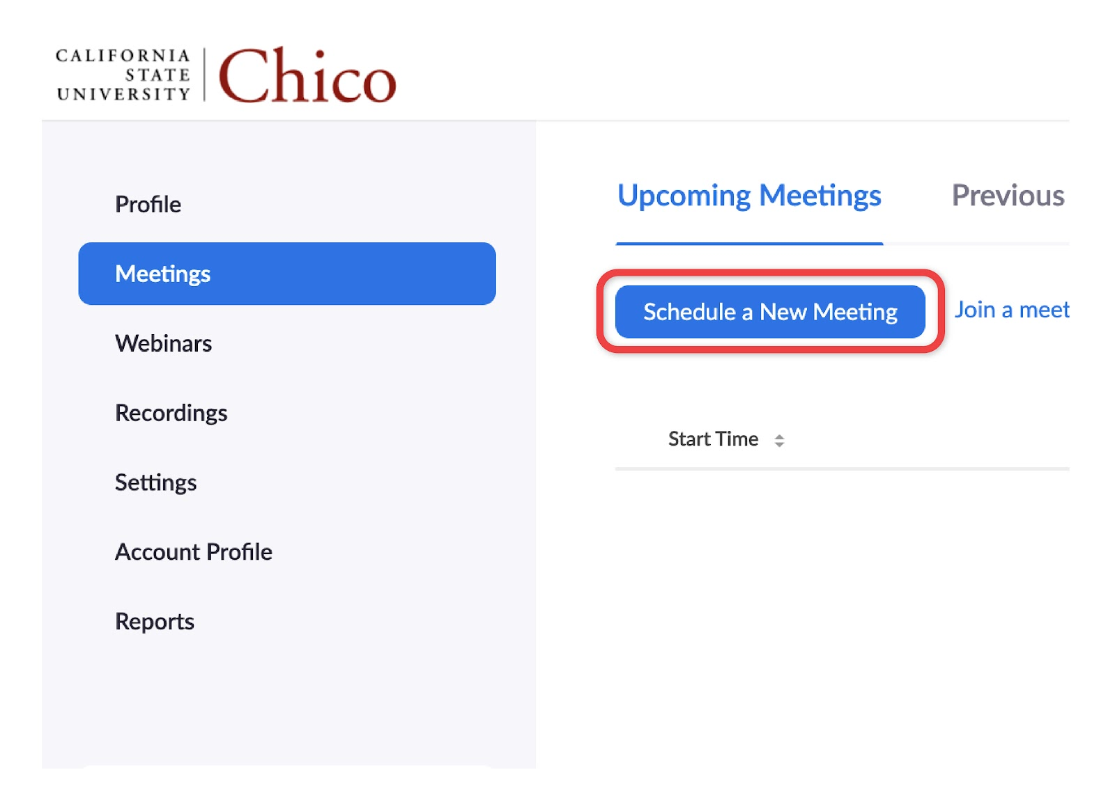 zoom meetings tab on Chico State Zoom portal
