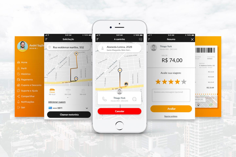A imagem contém 5 capturas de tela do aplicativo de mobilidade urbana, Mobdrive. Duas são mapas e trajetórias, e as demais são o perfil do usuário, avaliação da corrida e extrato da corrida.