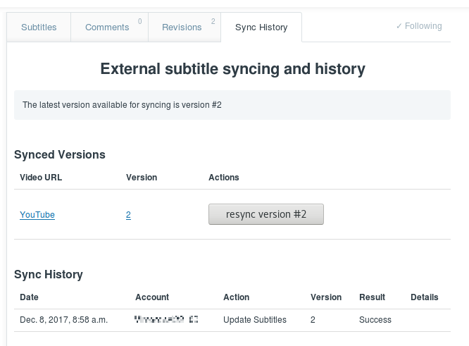 Screenshot of the Sync History tab for a video in the public library or on a flexible team