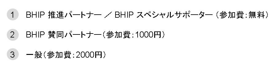 1:BHIP 推進パートナー / BHIP スペシャルサポーター (参加費:無料) 2:BHIP 賛同パートナー(参加費:1000円) 3:一般(参加費:2000円)