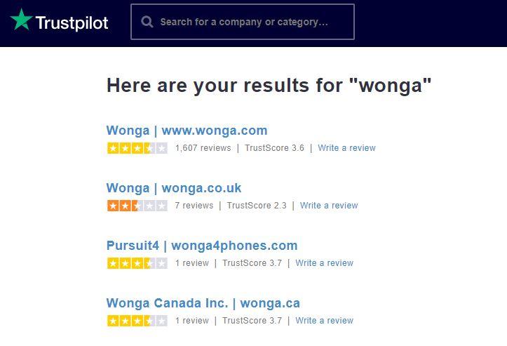 wonga loan reviews on Trustpilot