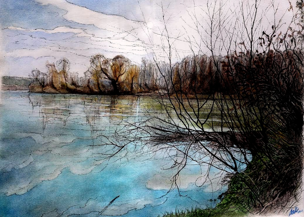 THE TISA RIVER, CENTRAL TISA REGION I - Illustration (landscape), MMXII - Ink and gouache on carton - 11,81 X 16,54 in.jpg