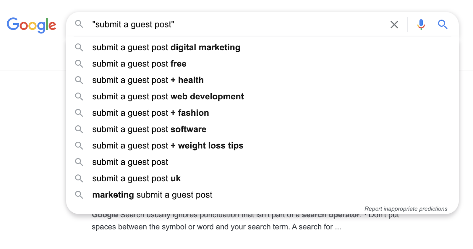 Google search on submitting a guest post