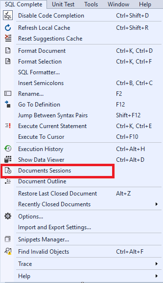 Navigating to Documents Sessions Window