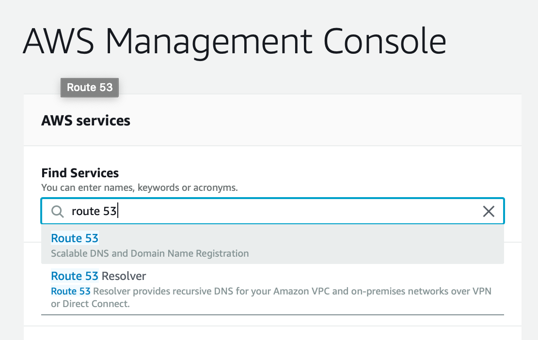 Finding the service Route53 in the AWS console