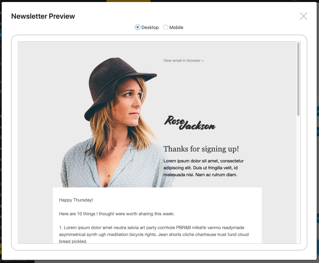 Newsletter preview in MailPoet.