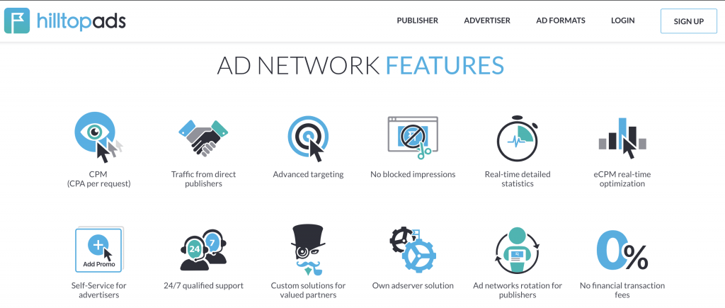 HillTOp Ads ad network features