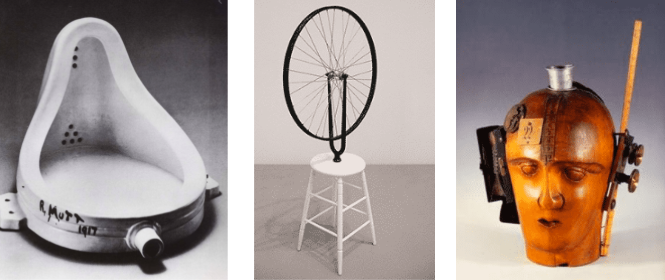 Marcel Duchamp's readymade pieces.