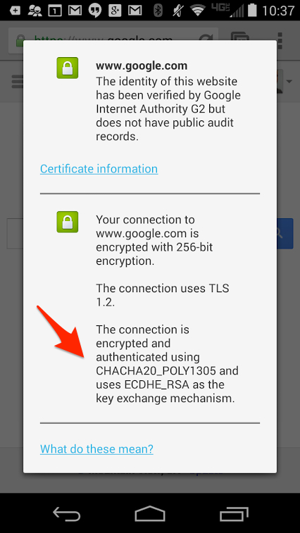 android certificate information