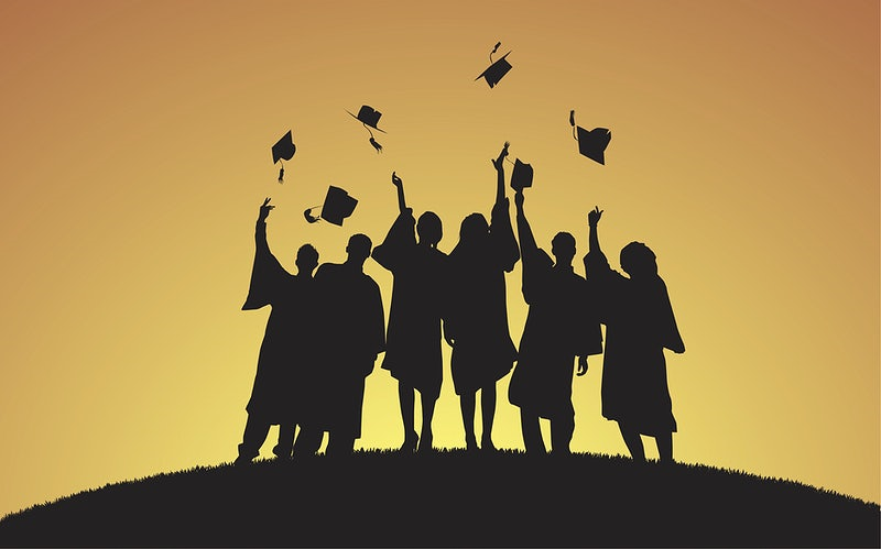 Six silhouetted graduates against a yellow background throwing their caps in the air What Is a High School Equivalency Diploma